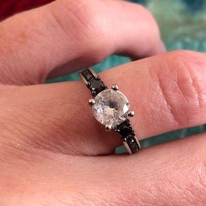 Black Diamond , Lab Created White Sapphire Ring 5